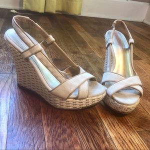 Lilly Pulitzer Tan Criss Cross Wedges